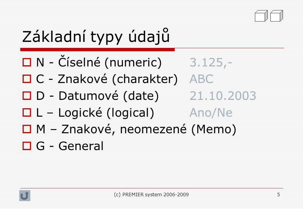 Základní typy údajů N - Číselné (numeric) 3.125,-