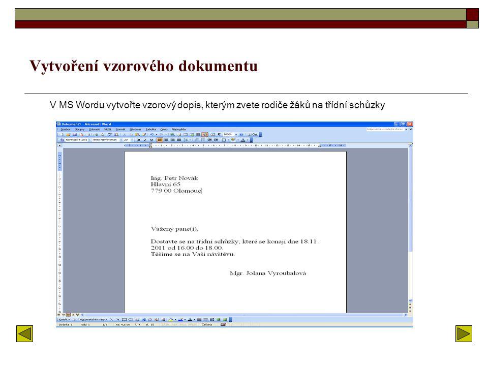 Vytvoření vzorového dokumentu