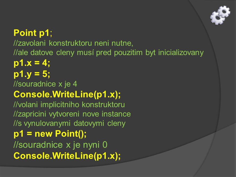 Point p1; //zavolani konstruktoru neni nutne, //ale datove cleny musí pred pouzitim byt inicializovany p1.x = 4; p1.y = 5; //souradnice x je 4 Console.WriteLine(p1.x); //volani implicitniho konstruktoru //zapricini vytvoreni nove instance //s vynulovanymi datovymi cleny p1 = new Point(); //souradnice x je nyni 0 Console.WriteLine(p1.x);