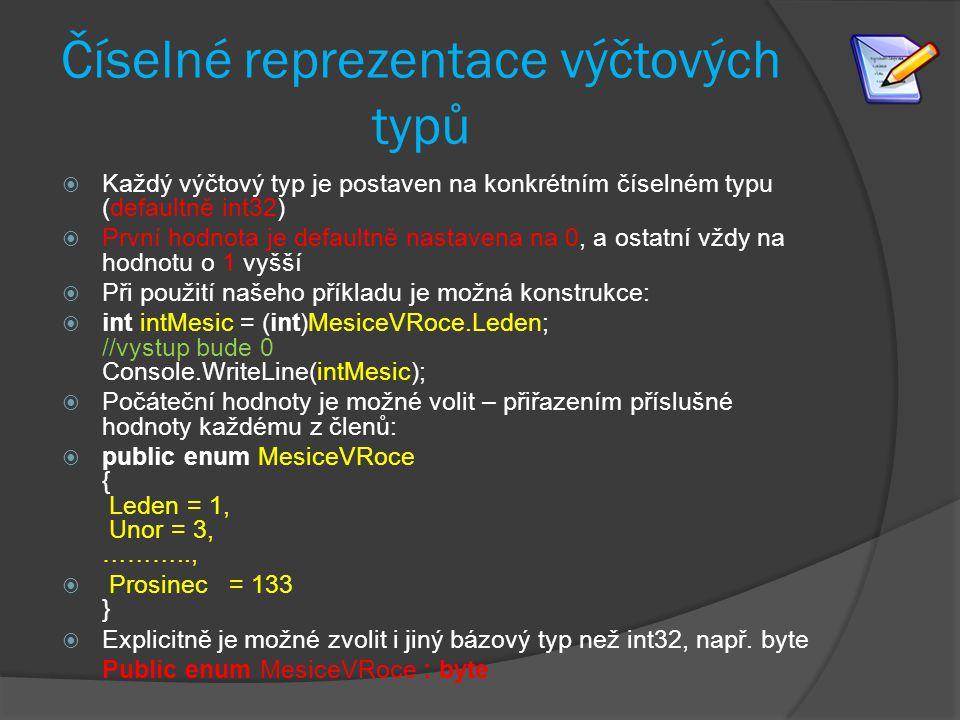 Číselné reprezentace výčtových typů