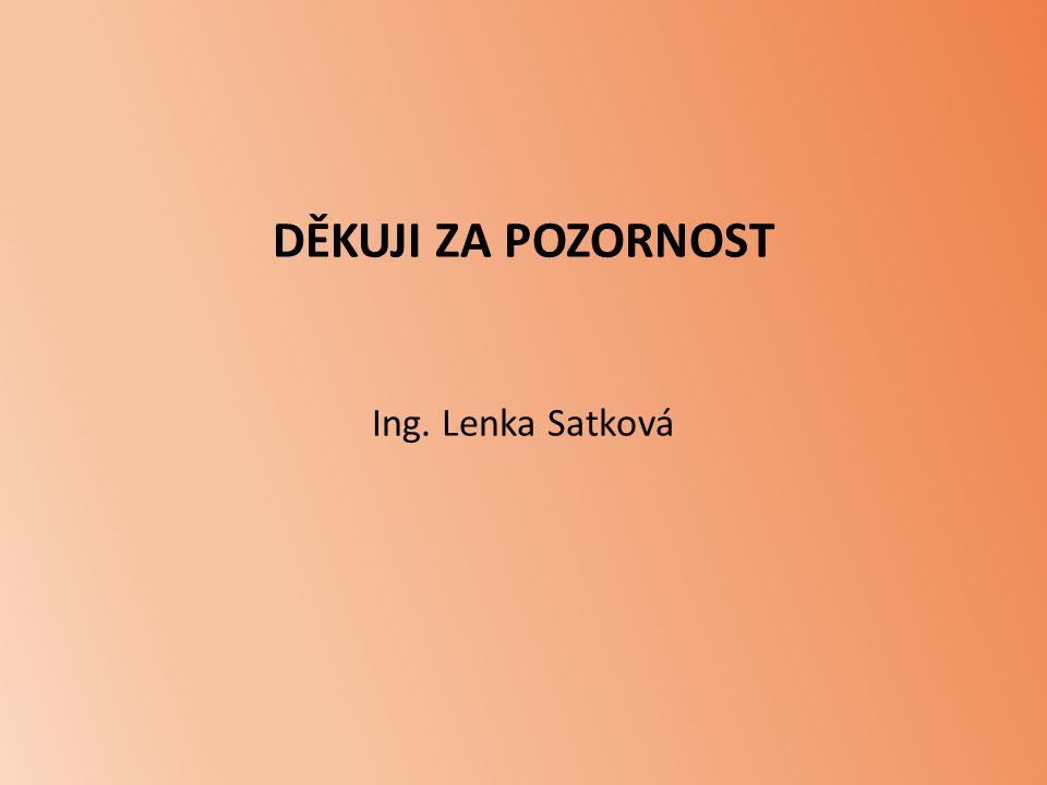 DĚKUJI ZA POZORNOST Ing. Lenka Satková