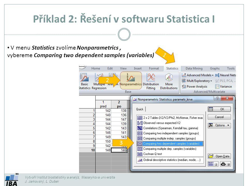 Příklad 2: Řešení v softwaru Statistica I