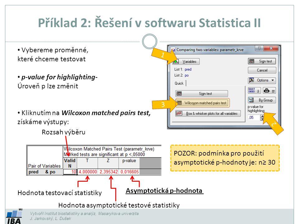 Příklad 2: Řešení v softwaru Statistica II