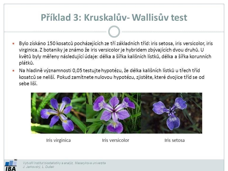 Příklad 3: Kruskalův- Wallisův test