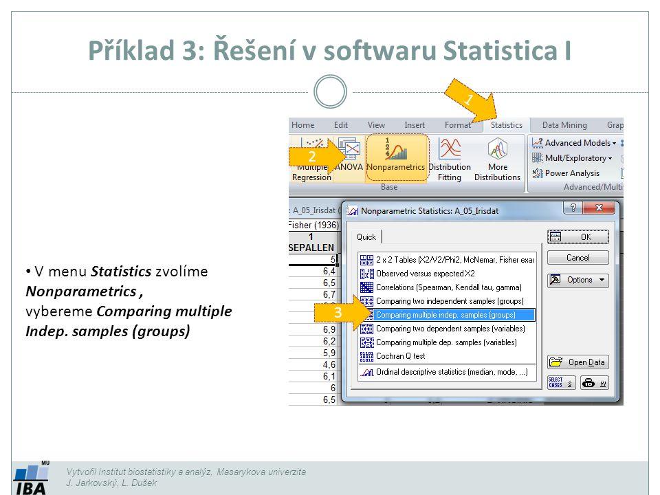 Příklad 3: Řešení v softwaru Statistica I