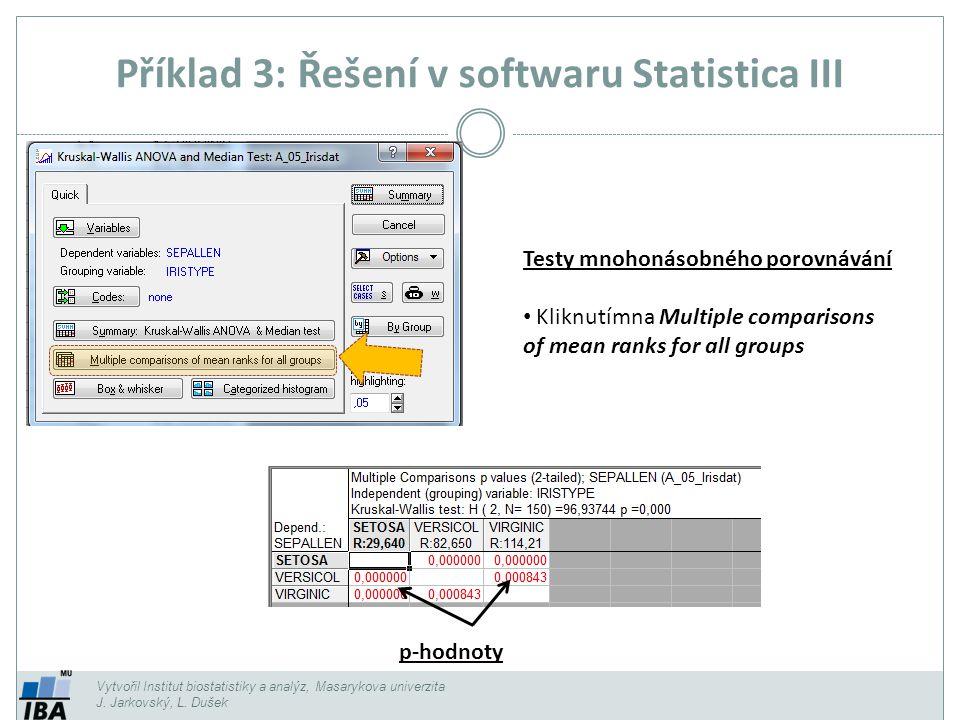Příklad 3: Řešení v softwaru Statistica III
