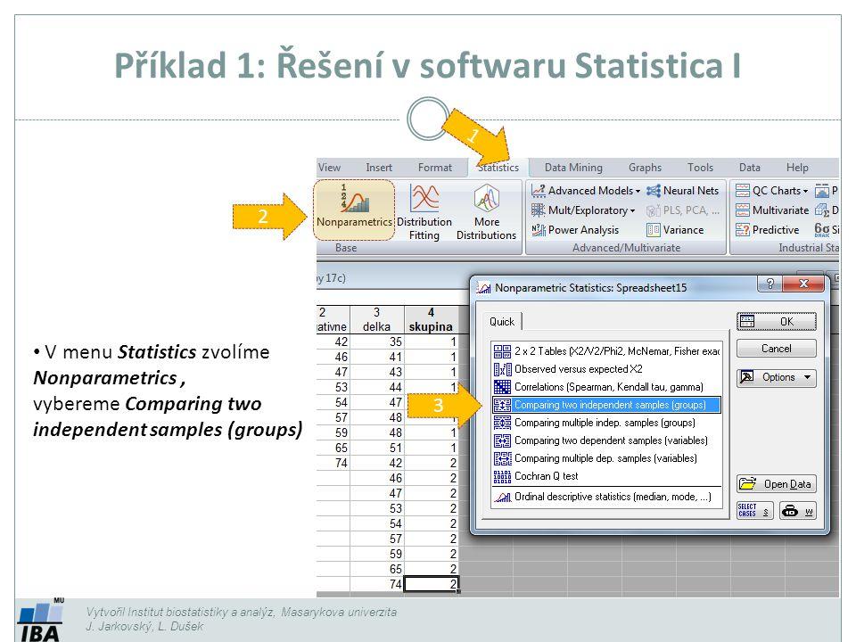 Příklad 1: Řešení v softwaru Statistica I