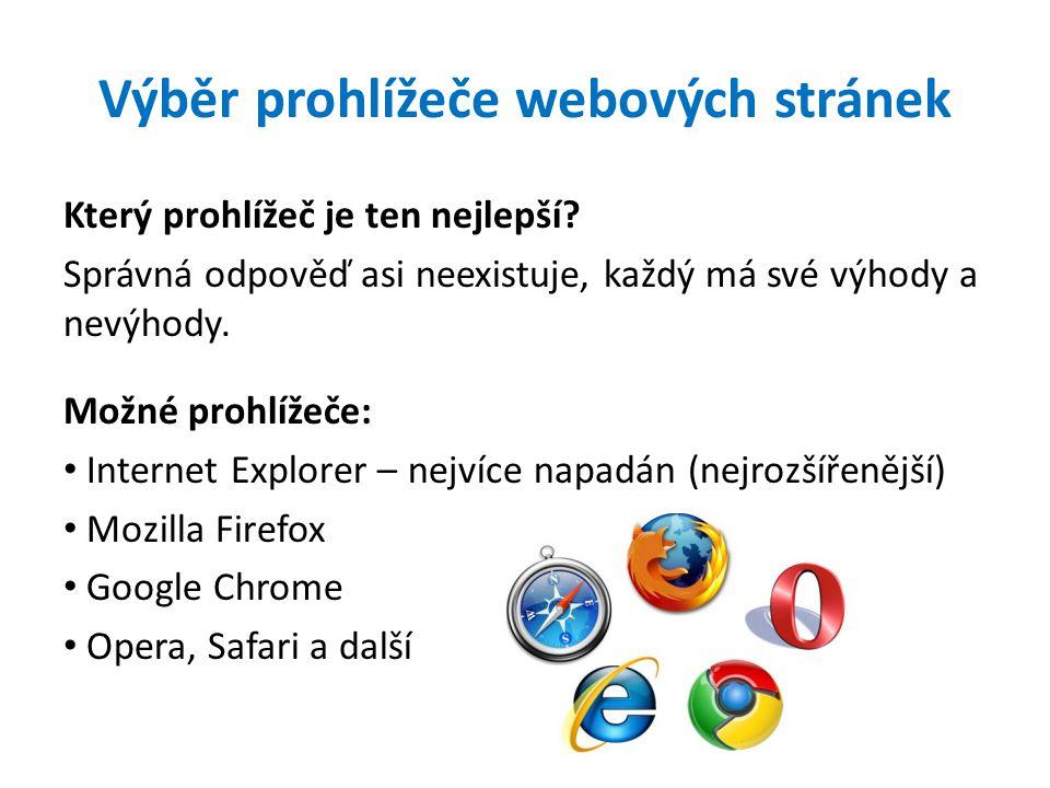 Výběr prohlížeče webových stránek