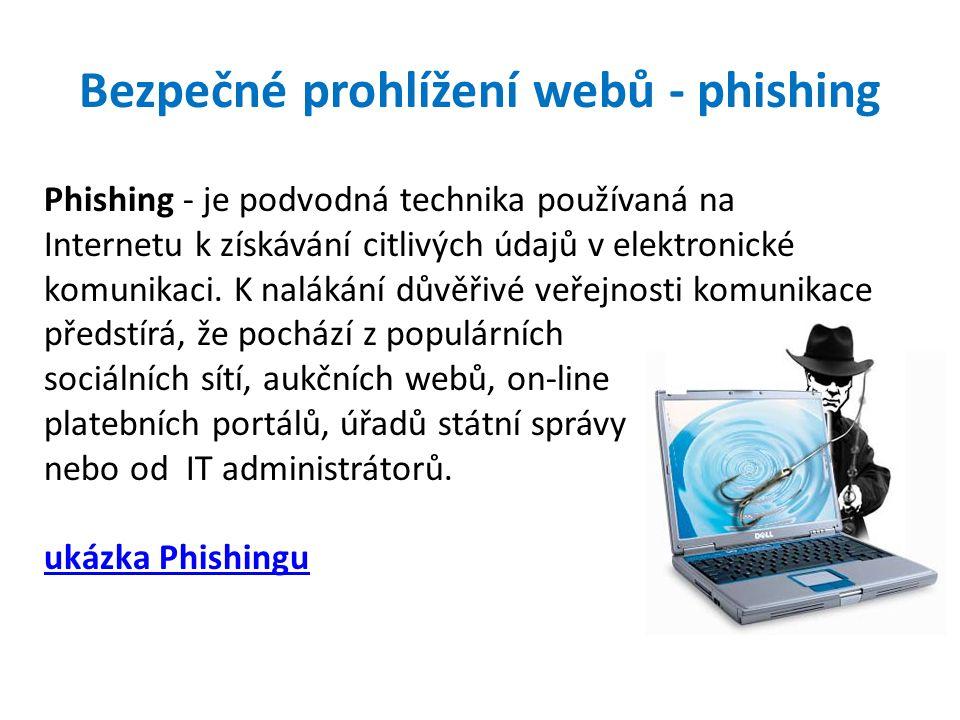 Bezpečné prohlížení webů - phishing