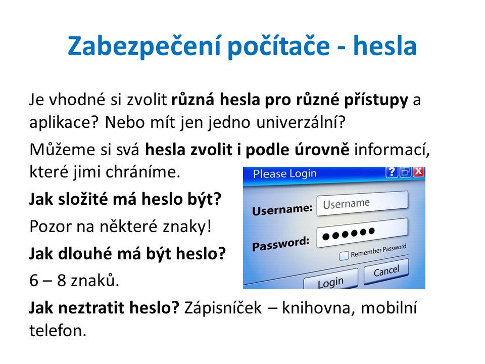 Zabezpečení počítače - hesla