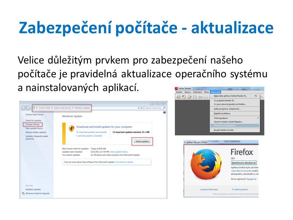 Zabezpečení počítače - aktualizace