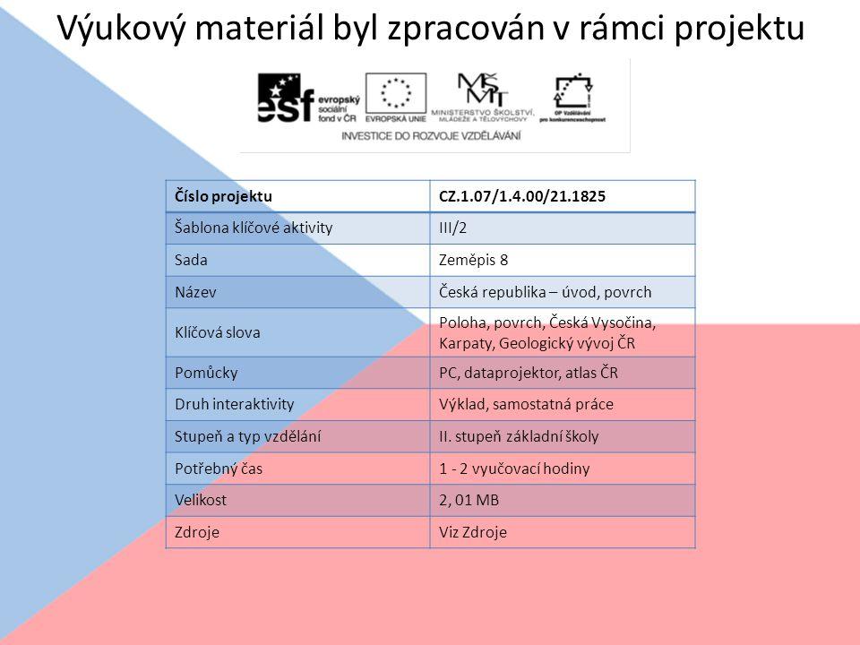 Výukový materiál byl zpracován v rámci projektu