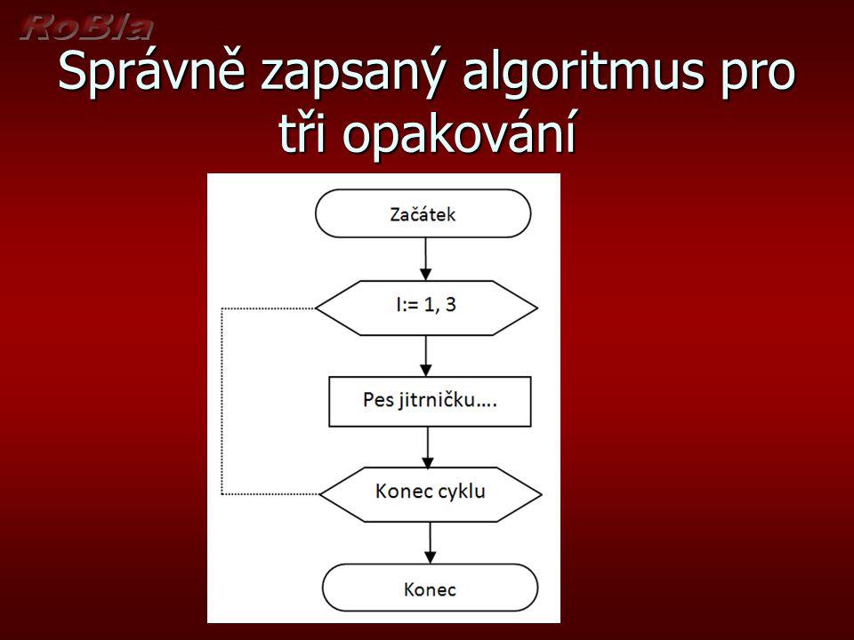 Správně zapsaný algoritmus pro tři opakování