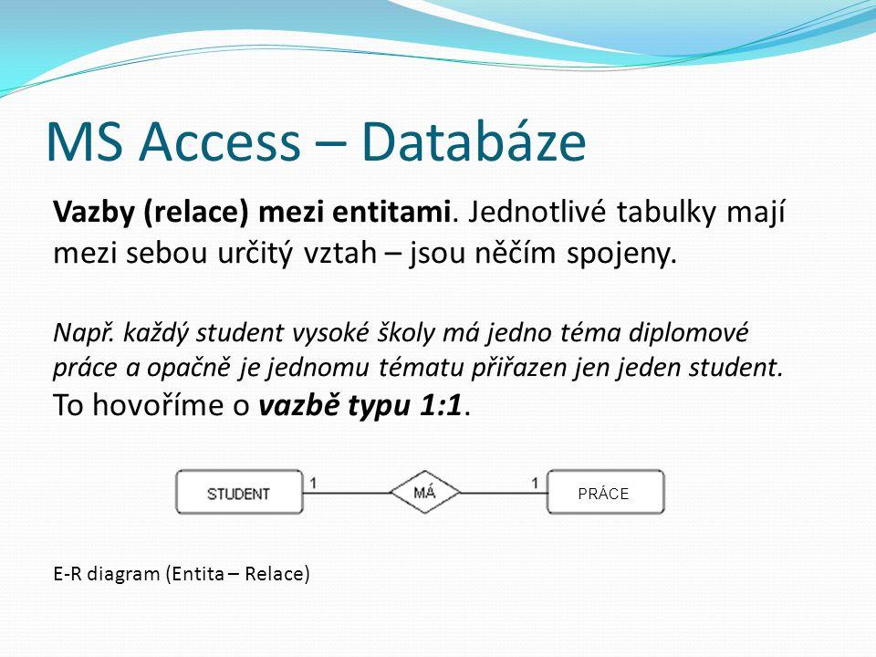 MS Access – Databáze Vazby (relace) mezi entitami. Jednotlivé tabulky mají mezi sebou určitý vztah – jsou něčím spojeny.