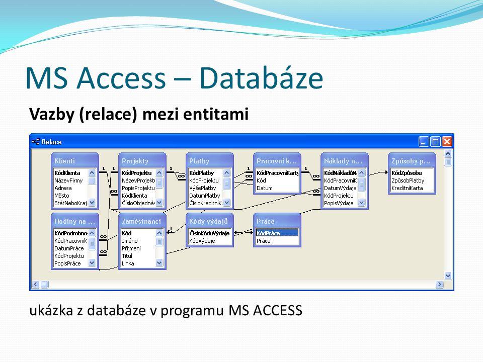 MS Access – Databáze Vazby (relace) mezi entitami
