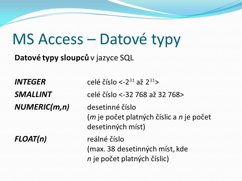 MS Access – Datové typy