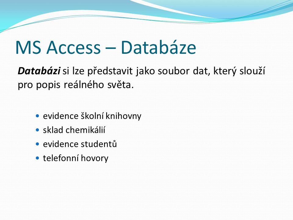 MS Access – Databáze Databázi si lze představit jako soubor dat, který slouží pro popis reálného světa.