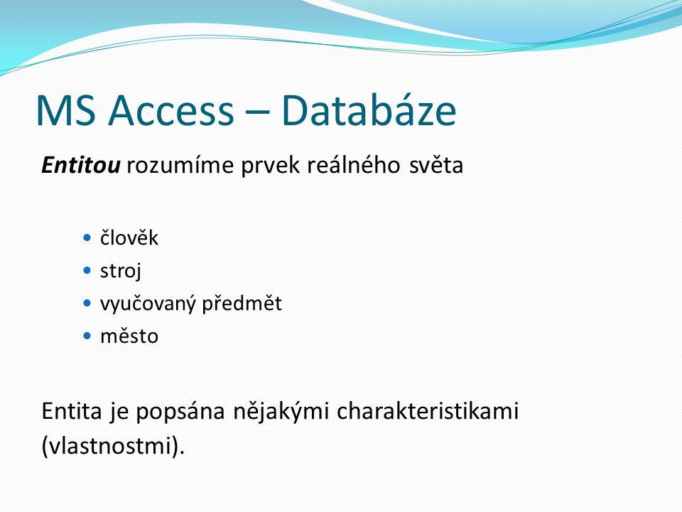 MS Access – Databáze Entitou rozumíme prvek reálného světa