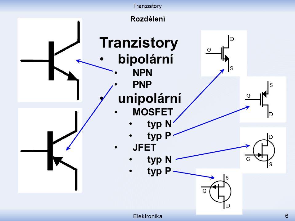 Tranzistory bipolární unipolární NPN PNP MOSFET typ N typ P JFET