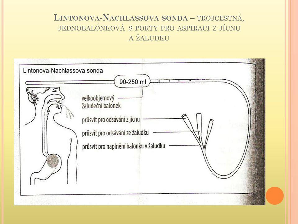 Lintonova-Nachlassova sonda – trojcestná, jednobalónková s porty pro aspiraci z jícnu a žaludku
