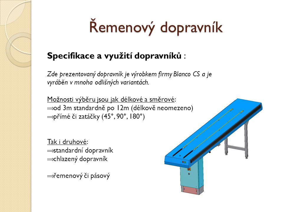 Řemenový dopravník Specifikace a využití dopravníků :
