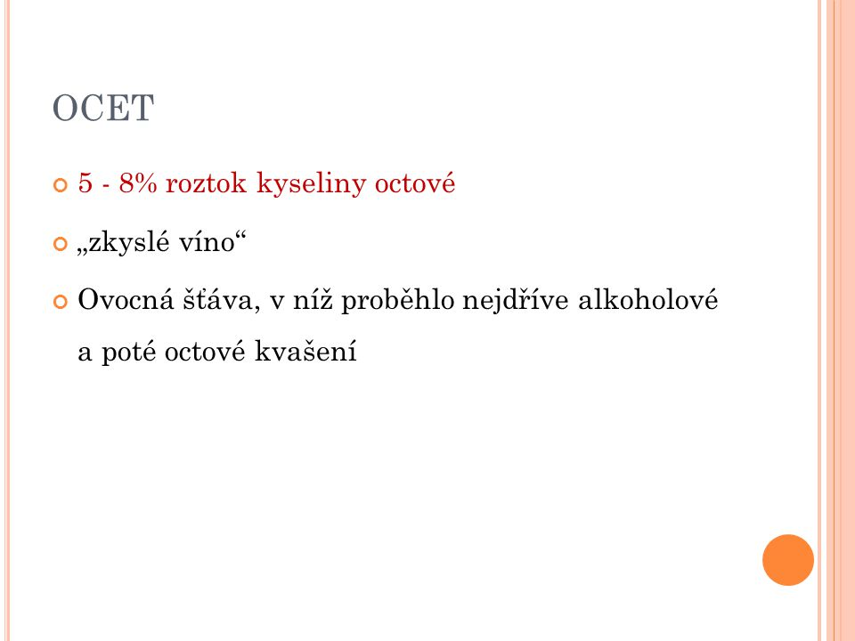 """OCET 5 - 8% roztok kyseliny octové """"zkyslé víno"""