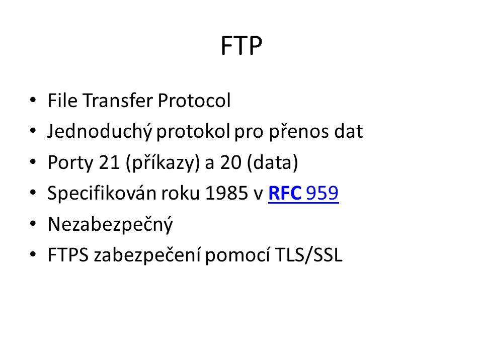 FTP File Transfer Protocol Jednoduchý protokol pro přenos dat
