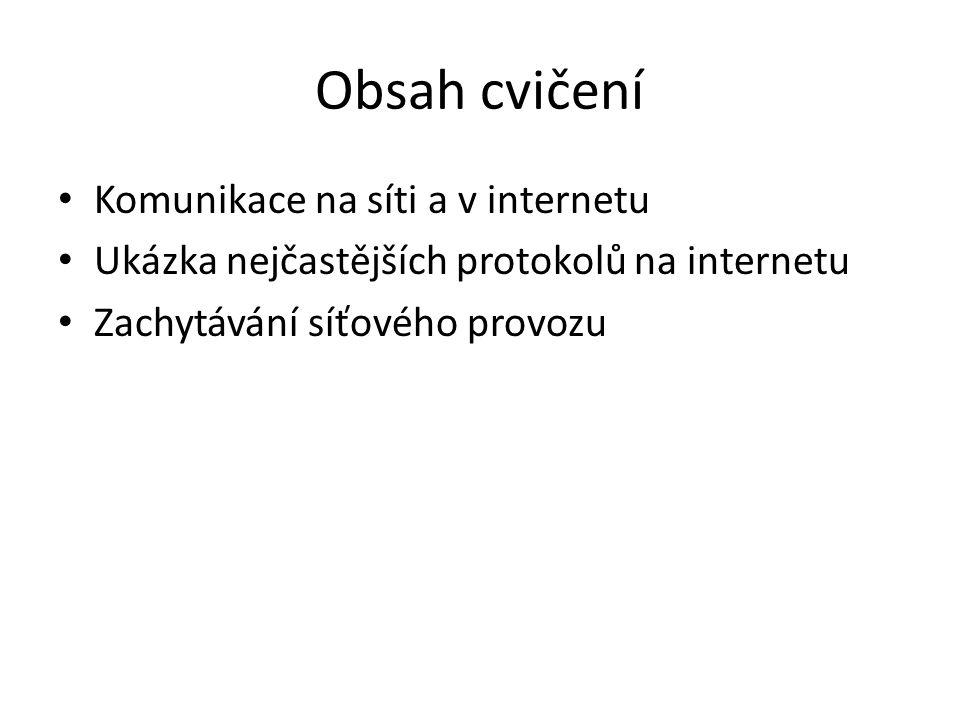 Obsah cvičení Komunikace na síti a v internetu