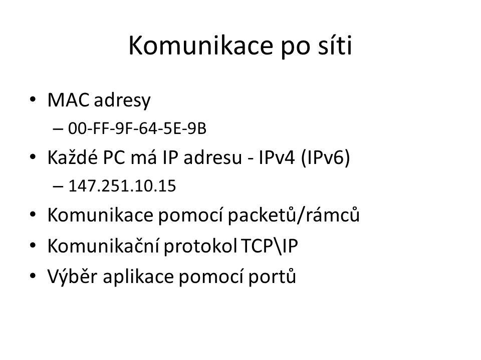 Komunikace po síti MAC adresy Každé PC má IP adresu - IPv4 (IPv6)
