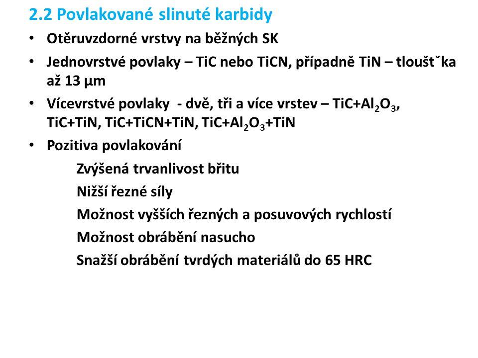 2.2 Povlakované slinuté karbidy