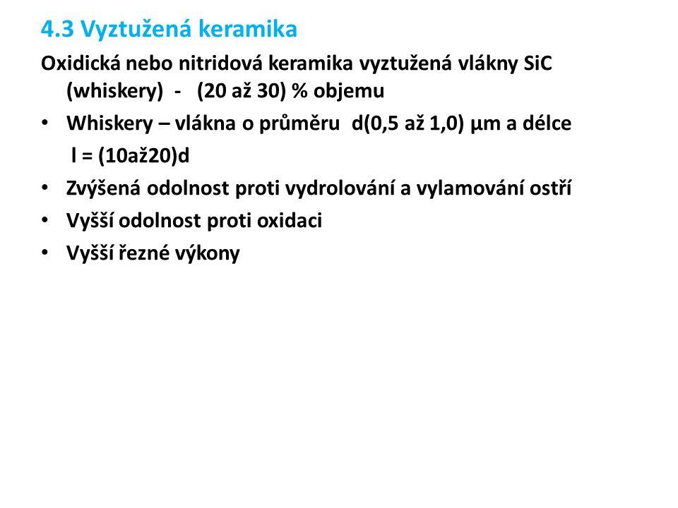 4.3 Vyztužená keramika Oxidická nebo nitridová keramika vyztužená vlákny SiC (whiskery) - (20 až 30) % objemu.