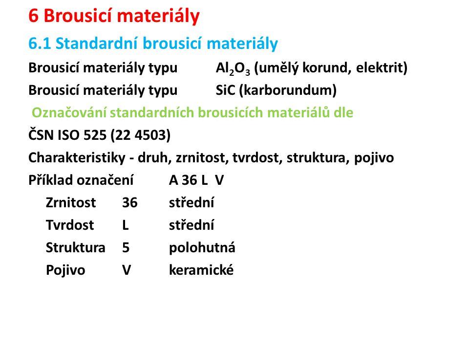6 Brousicí materiály 6.1 Standardní brousicí materiály
