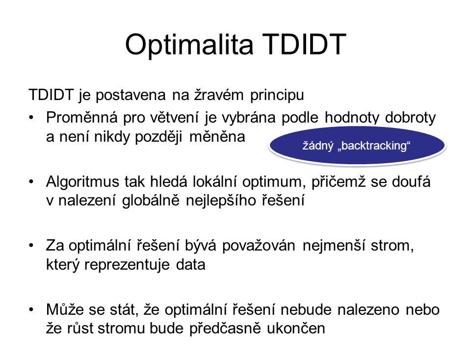 Optimalita TDIDT TDIDT je postavena na žravém principu