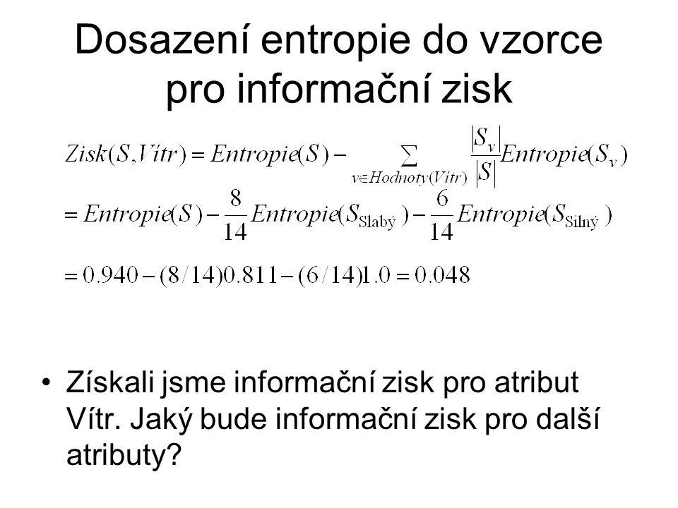 Dosazení entropie do vzorce pro informační zisk