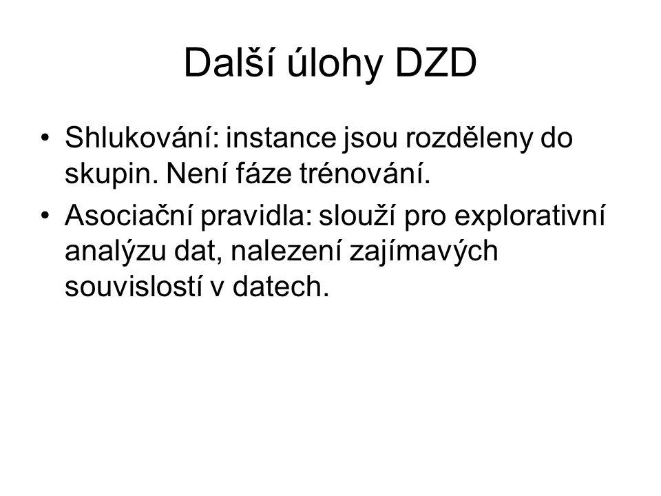 Další úlohy DZD Shlukování: instance jsou rozděleny do skupin. Není fáze trénování.
