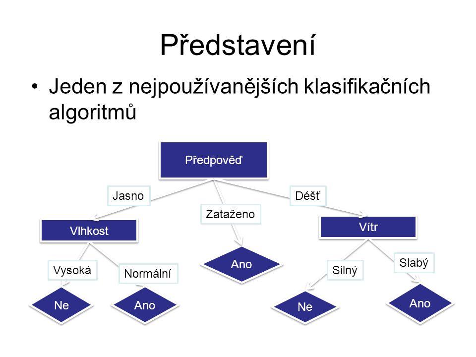 Představení Jeden z nejpoužívanějších klasifikačních algoritmů