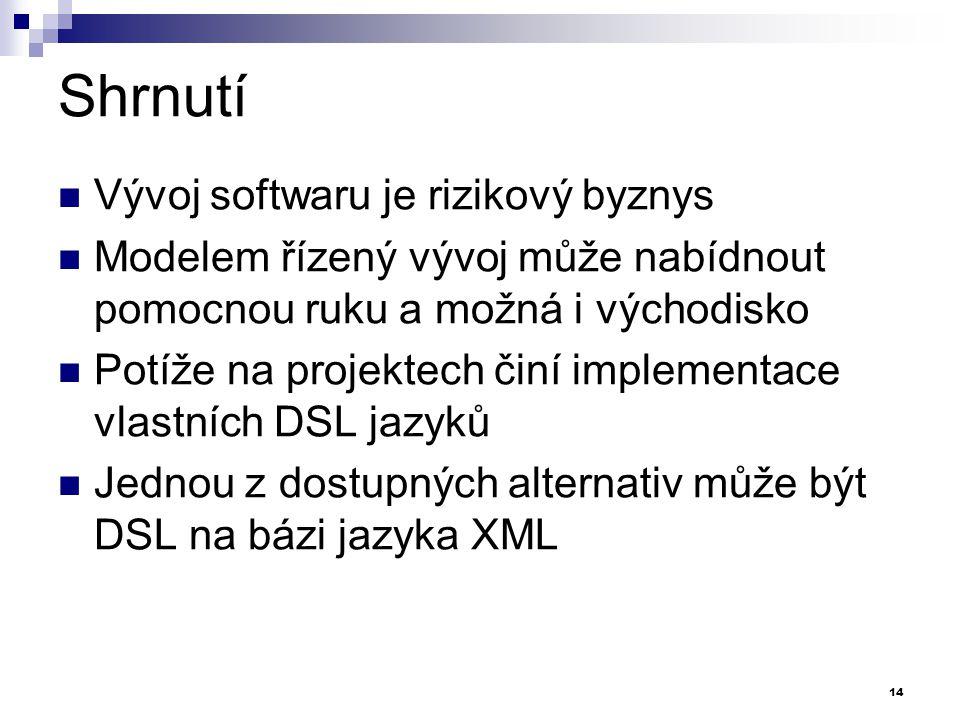 Shrnutí Vývoj softwaru je rizikový byznys