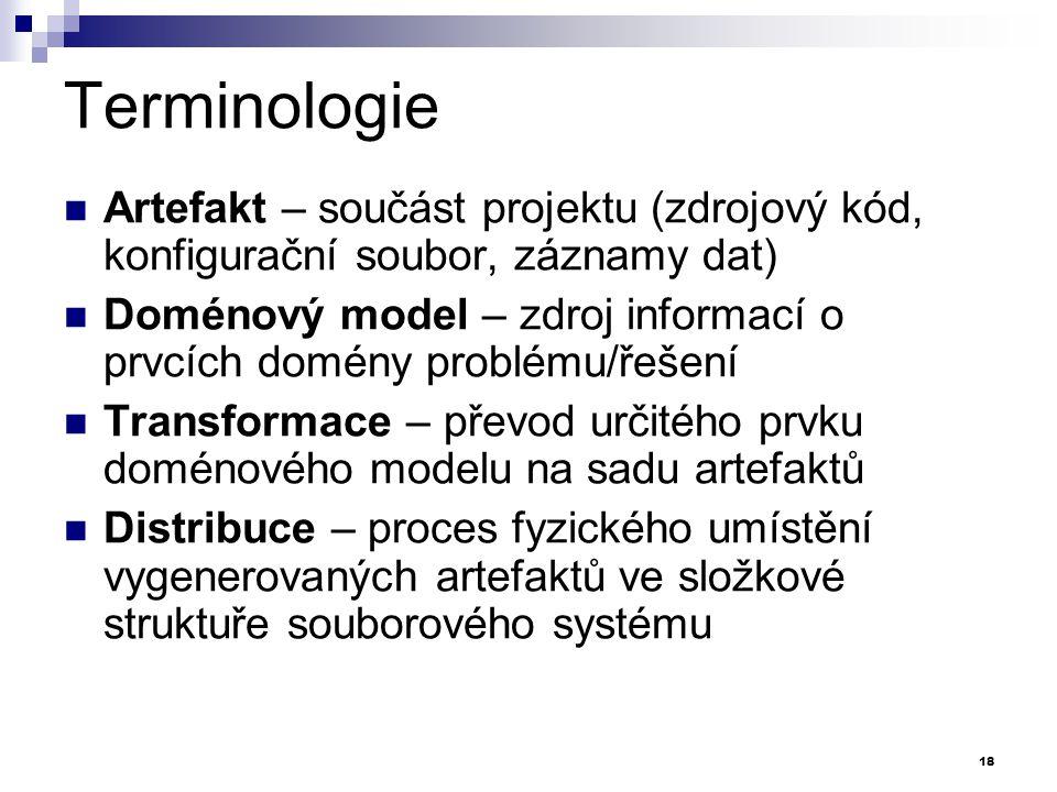 Terminologie Artefakt – součást projektu (zdrojový kód, konfigurační soubor, záznamy dat)