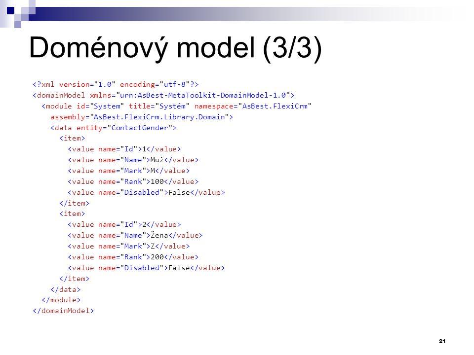 Doménový model (3/3) < xml version= 1.0 encoding= utf-8 >