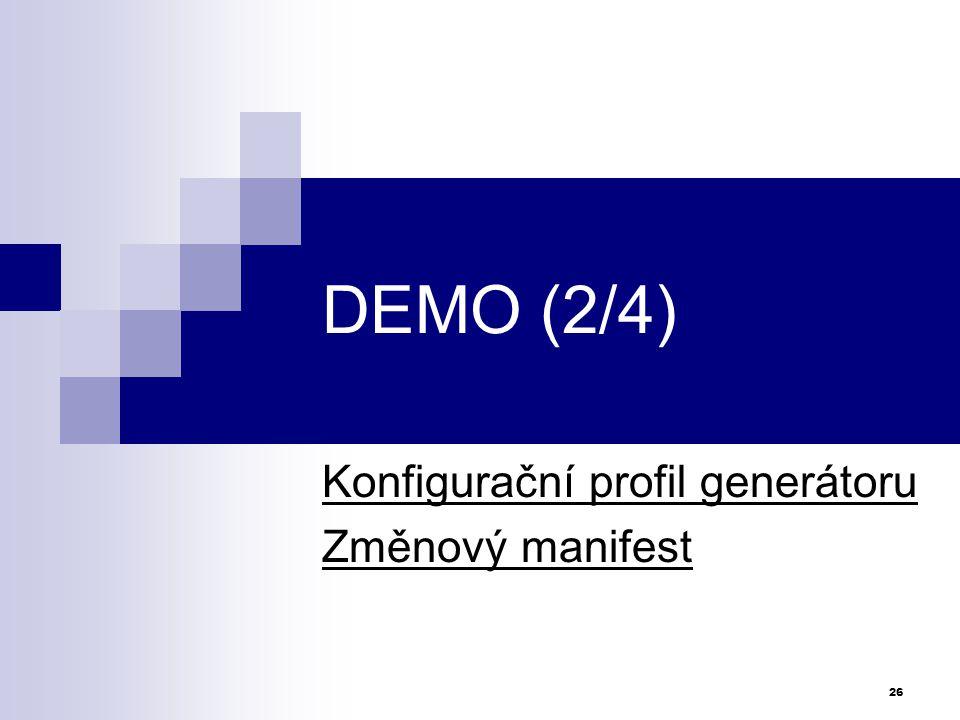 Konfigurační profil generátoru Změnový manifest