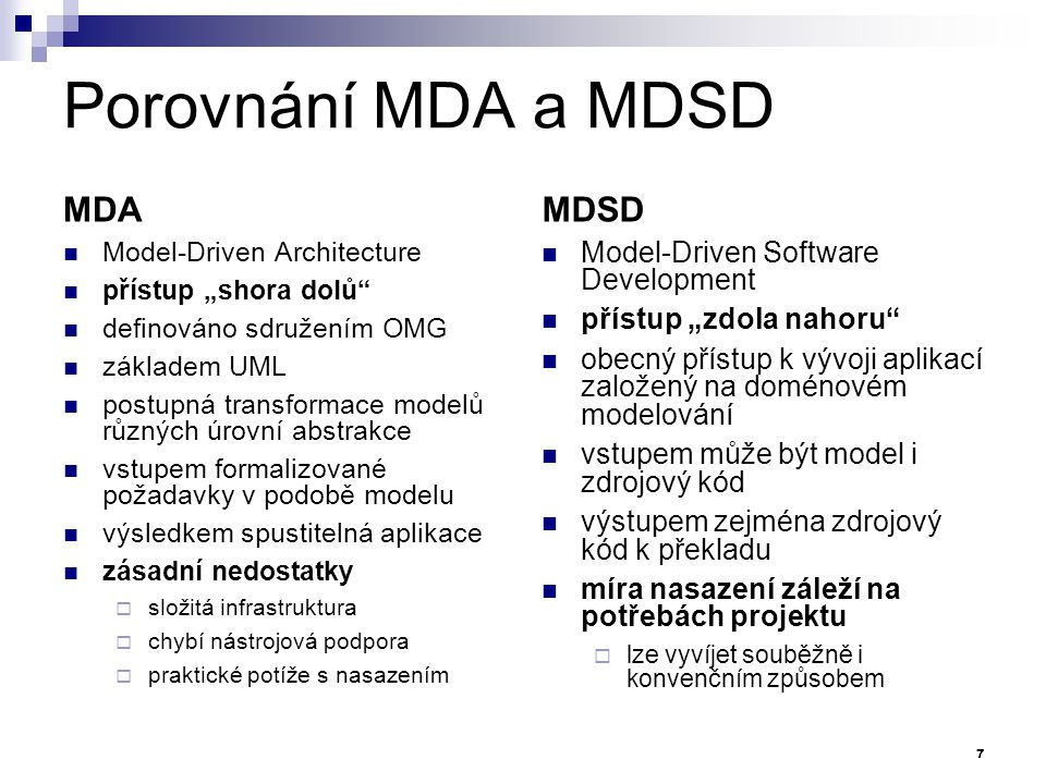 Porovnání MDA a MDSD MDA MDSD Model-Driven Software Development