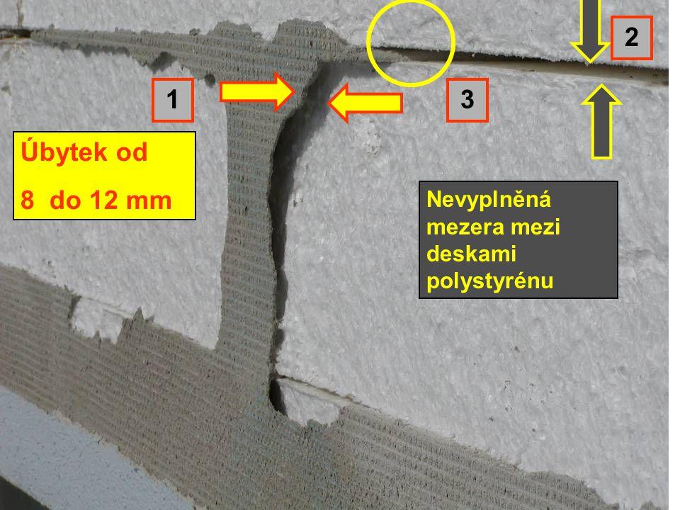 Úbytek od 8 do 12 mm 2 1 3 Nevyplněná mezera mezi deskami polystyrénu