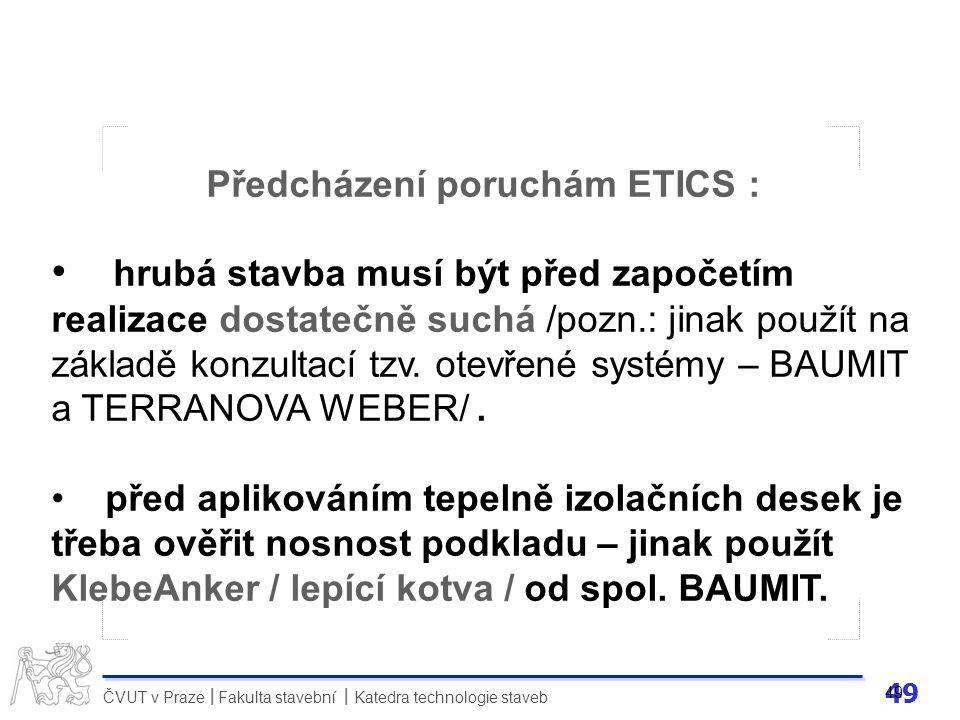 Předcházení poruchám ETICS :