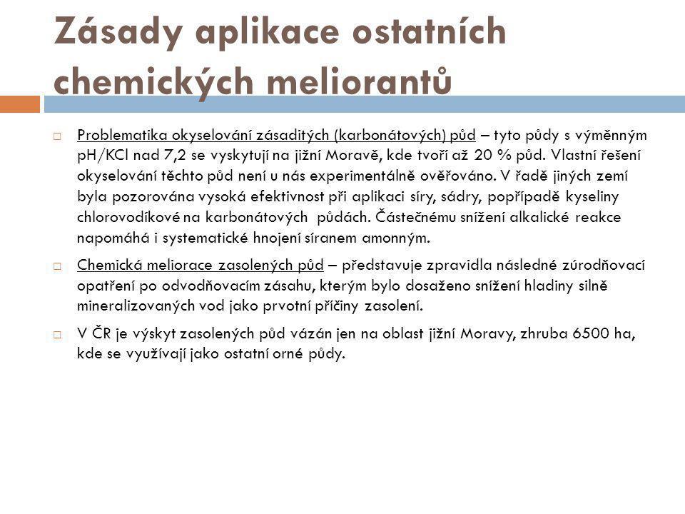 Zásady aplikace ostatních chemických meliorantů