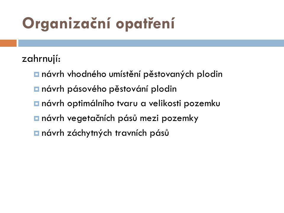 Organizační opatření zahrnují: