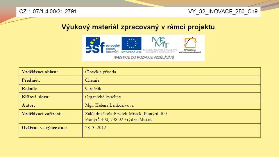 Výukový materiál zpracovaný v rámci projektu