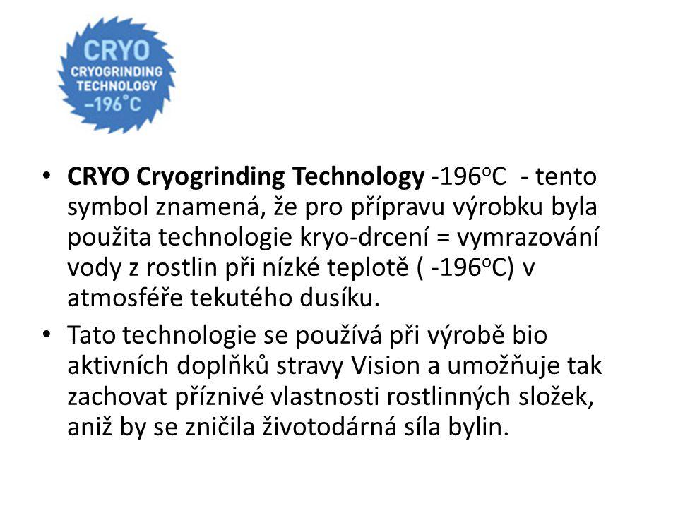 CRYO Cryogrinding Technology -196oC - tento symbol znamená, že pro přípravu výrobku byla použita technologie kryo-drcení = vymrazování vody z rostlin při nízké teplotě ( -196oC) v atmosféře tekutého dusíku.