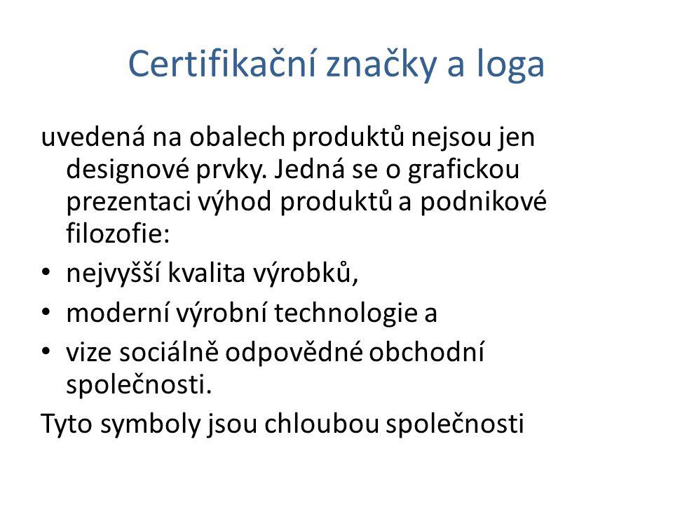 Certifikační značky a loga