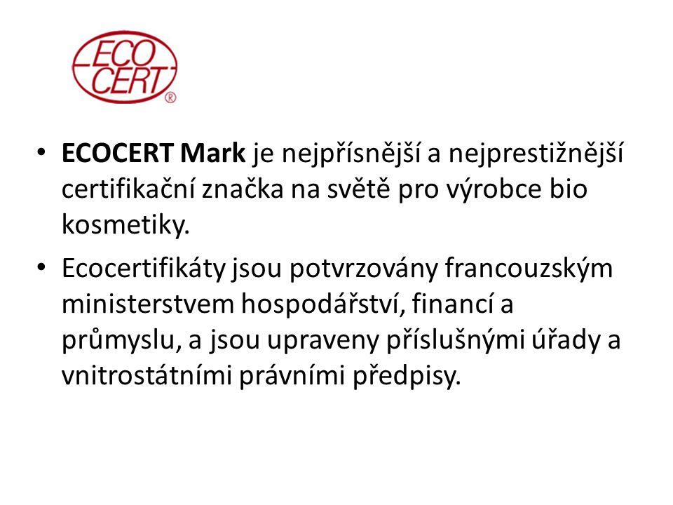 ECOCERT Mark je nejpřísnější a nejprestižnější certifikační značka na světě pro výrobce bio kosmetiky.