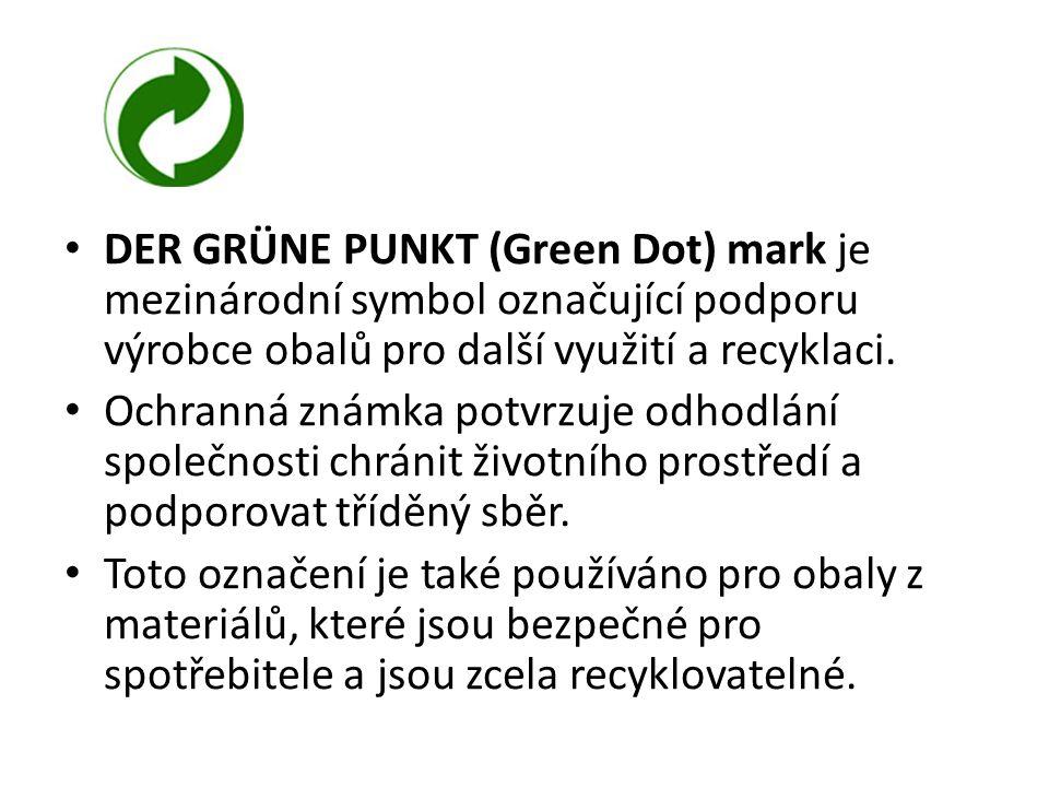 DER GRÜNE PUNKT (Green Dot) mark je mezinárodní symbol označující podporu výrobce obalů pro další využití a recyklaci.